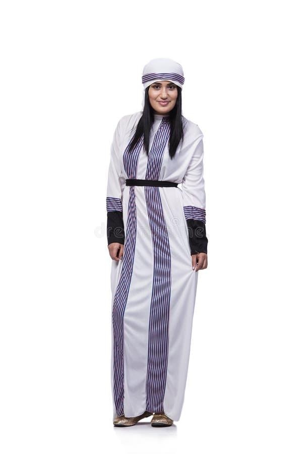 Arabska kobieta odizolowywająca na białym tle fotografia royalty free