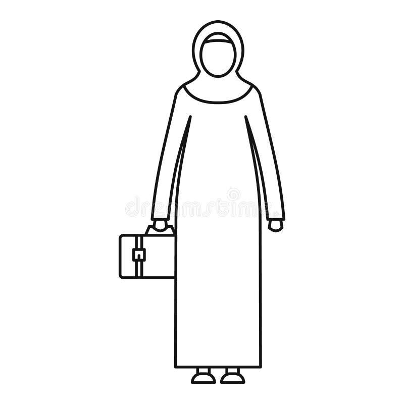 Arabska kobiety ikona, konturu styl ilustracja wektor