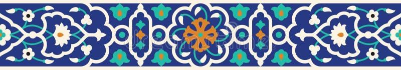 Arabska Kwiecista Bezszwowa granica Tradycyjny Islamski projekt ilustracji