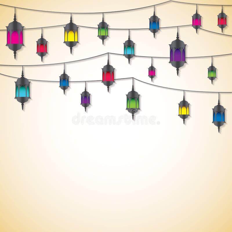 Arabska lampion karta w wektorowym formacie ilustracja wektor