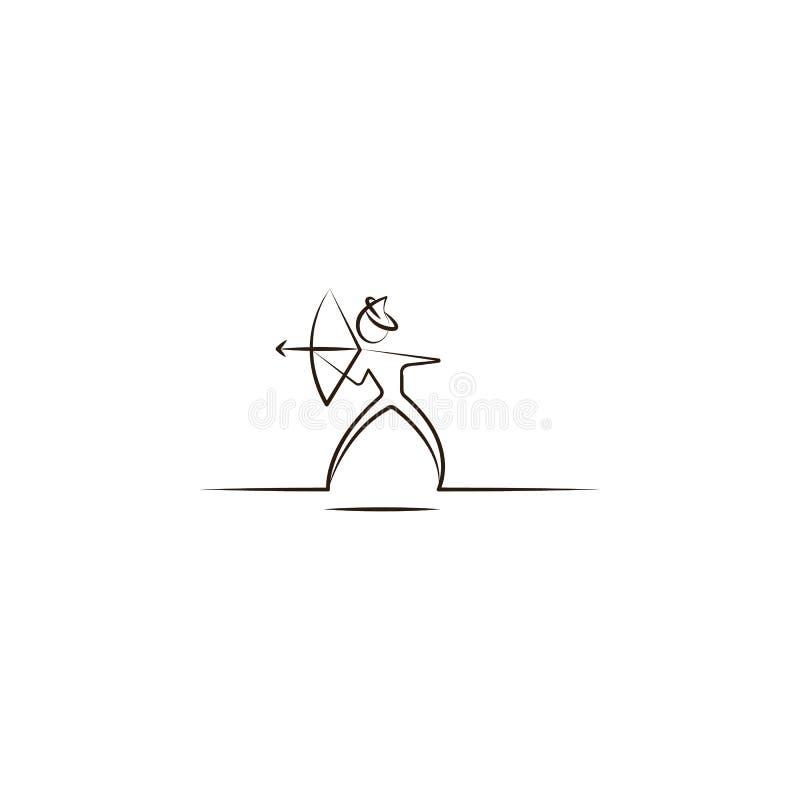 Arabska mężczyzna łuczniczki ikona Element pustynna ikona dla mobilnych pojęcia i sieci apps Ręka remisu mężczyzna łuczniczki Ara ilustracji