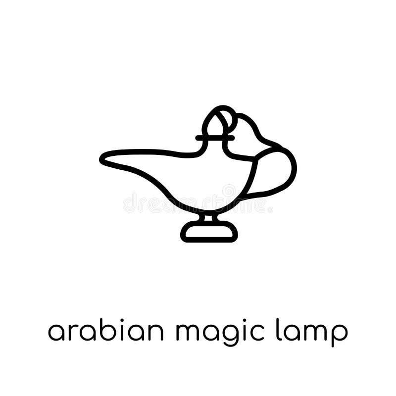 Arabska Magiczna Lampowa ikona Modny nowożytny płaski liniowy wektorowy Arabia ilustracja wektor