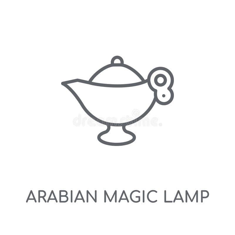 Arabska Magiczna Lampowa liniowa ikona Nowożytnego konturu Arabski Magiczny zwianie royalty ilustracja