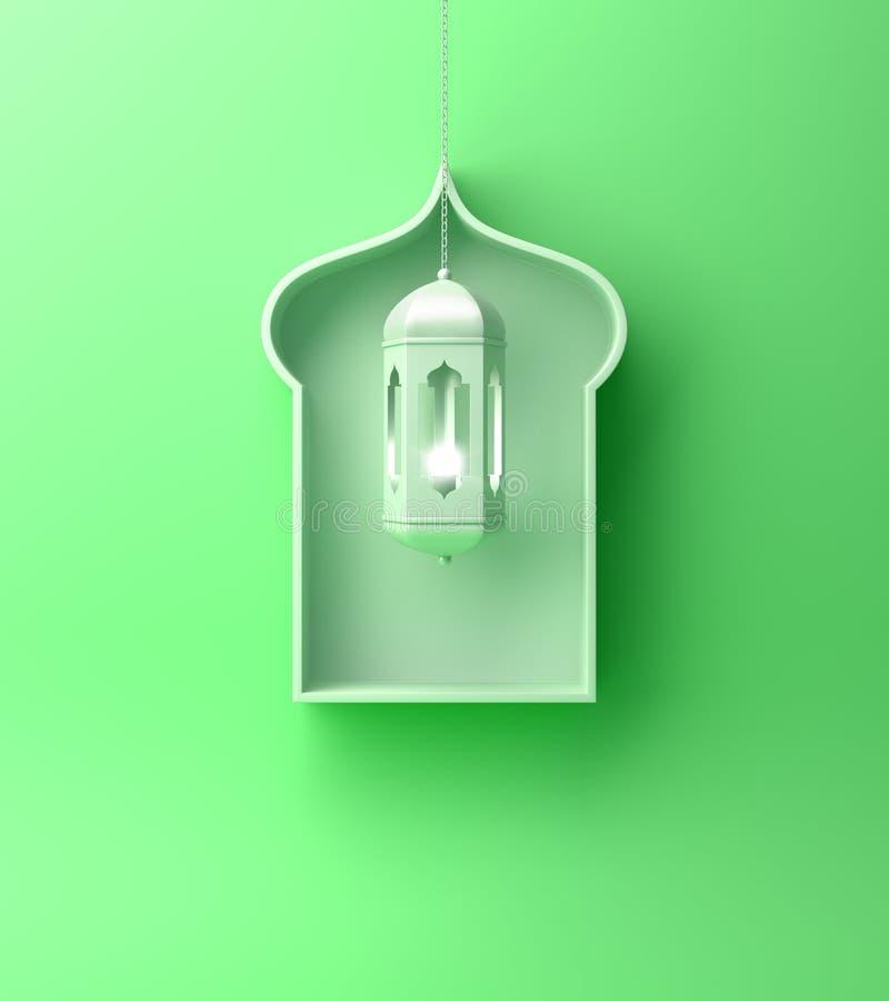 Arabska nadokienna półka i wiszący lampion na zielonym pastelowym tle royalty ilustracja