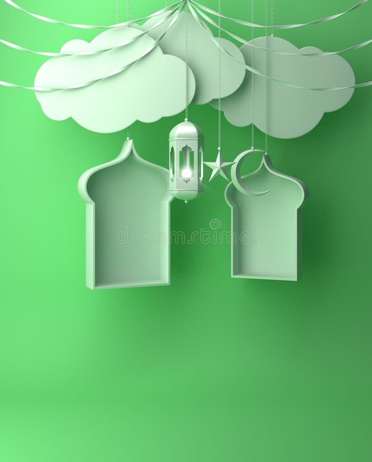 Arabska okno, faborku, chmury, półksiężyc, gwiazdy i obwieszenia lampa na błękitnym pastelowym tle, ilustracji