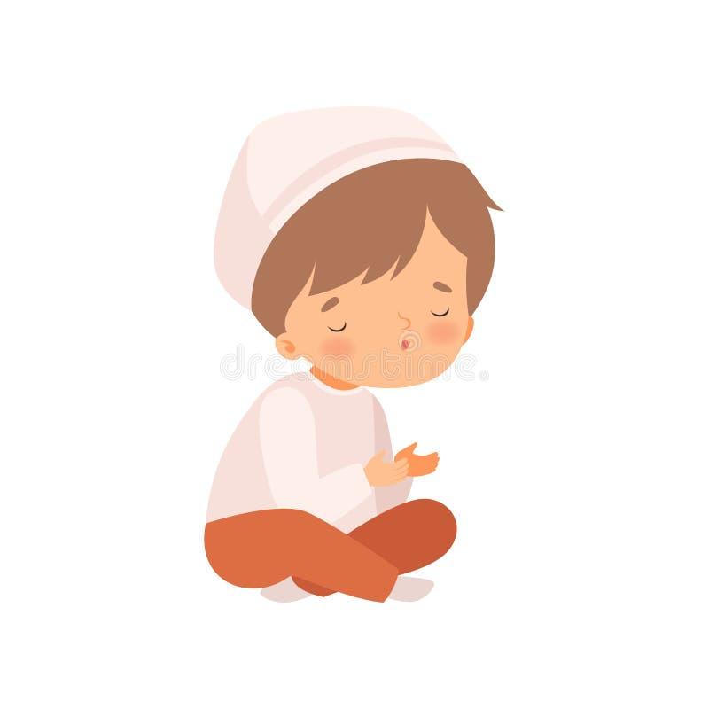 Arabska postać muzułmańska siedząca z przeklętymi nóg i modląca się ilustracja wektora rysunków ilustracja wektor