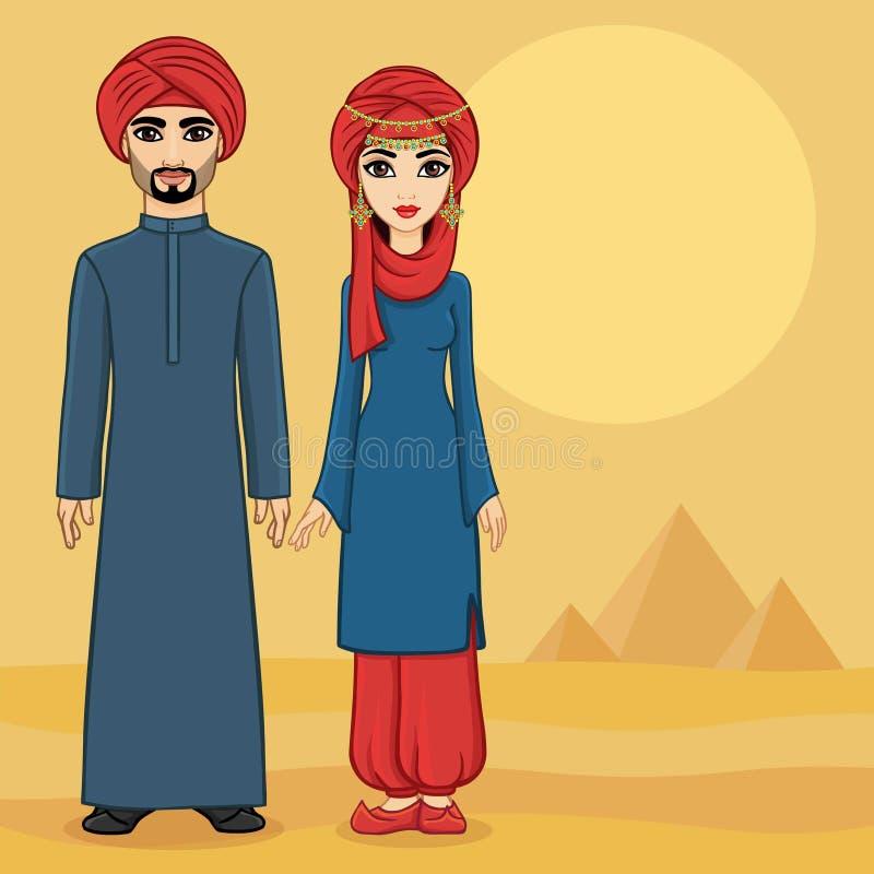 Arabska rodzina w tradycyjnym odziewa ilustracja wektor