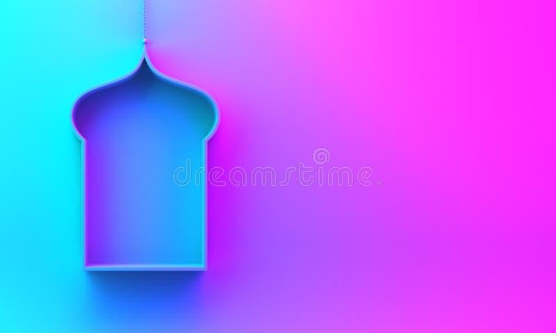 Arabska wisząca nadokienna półka na błękitnych fiołkowych purpurach różowi gradientowego tło ilustracja wektor