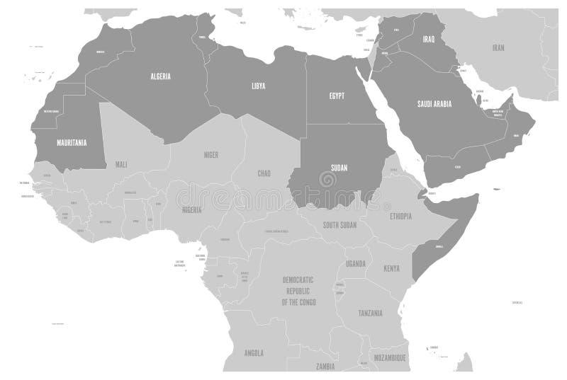 Arabski świat twierdzi polityczną mapę z higlighted 22 mówienie kraju Arabski liga Północny Afryka ilustracji