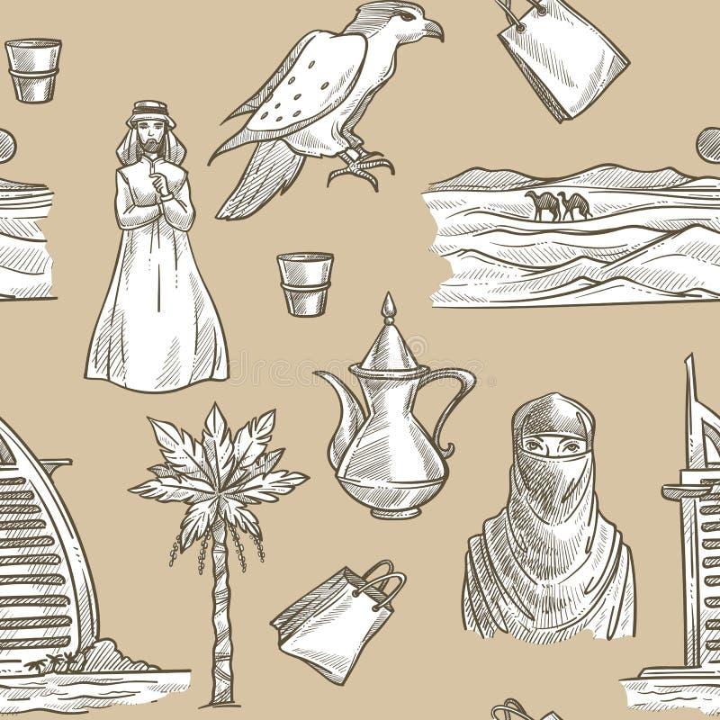 Arabski bezszwowy wzór z derwisza i kobiety wektorem royalty ilustracja