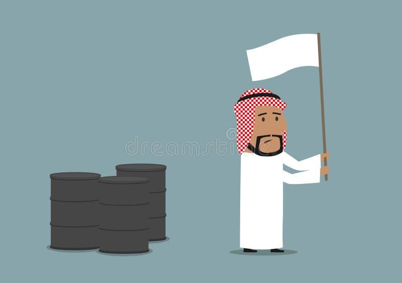 Arabski biznesmen kapituluje z białą flaga ilustracji
