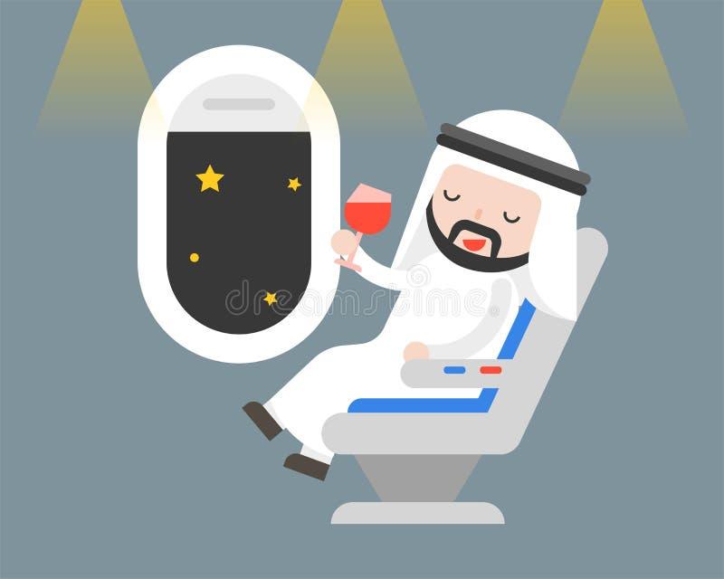 Arabski biznesmena obsiadanie przy siedzeniem z szkłem wino w nocy fli ilustracja wektor