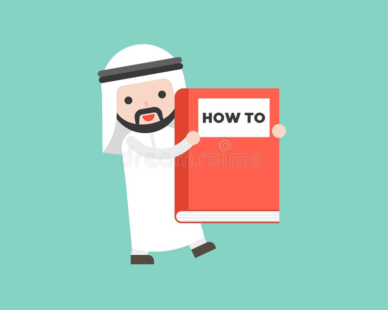 Arabski biznesmena przewożenie dlaczego duża książka, przygotowywająca używać characte ilustracji