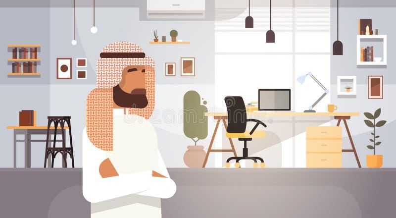 Arabski Biznesowego mężczyzna przedsiębiorca W Nowożytnym biurze ilustracja wektor