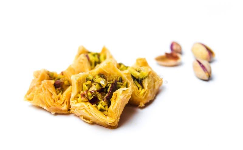 Arabski deser z pistacją odizolowywającą zdjęcia stock