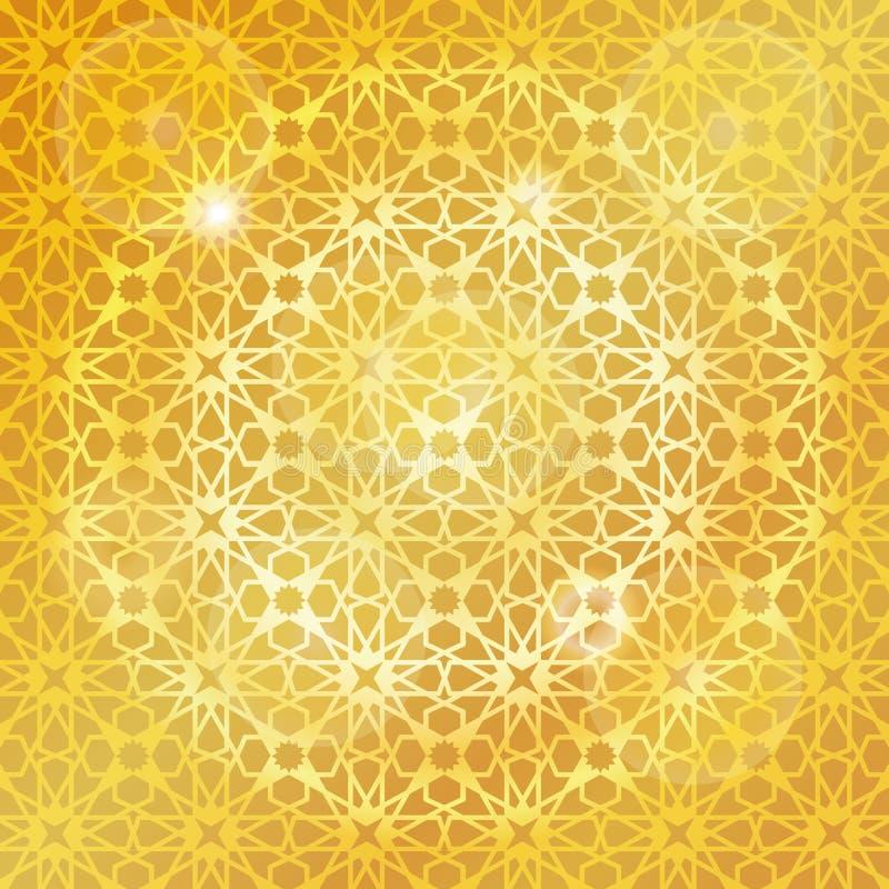 Arabski islamski wzór, złocisty tło _ ilustracji