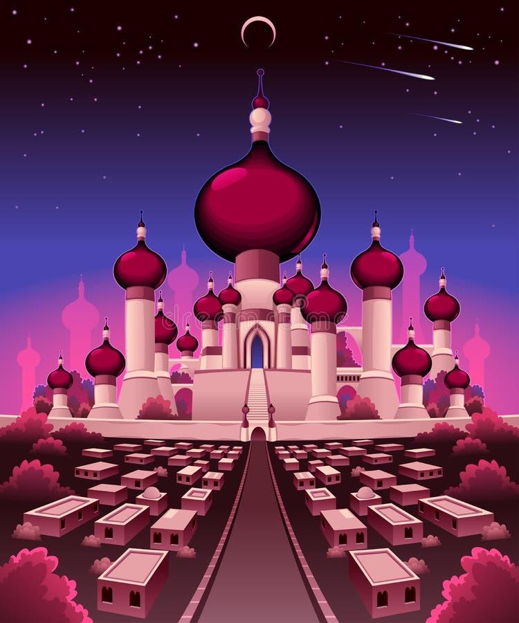 Arabski kasztel w nocy ilustracji