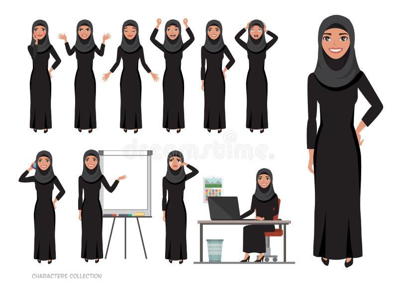 Arabski kobieta charakter - set emocje Arabska kobieta z hijab ilustracja wektor