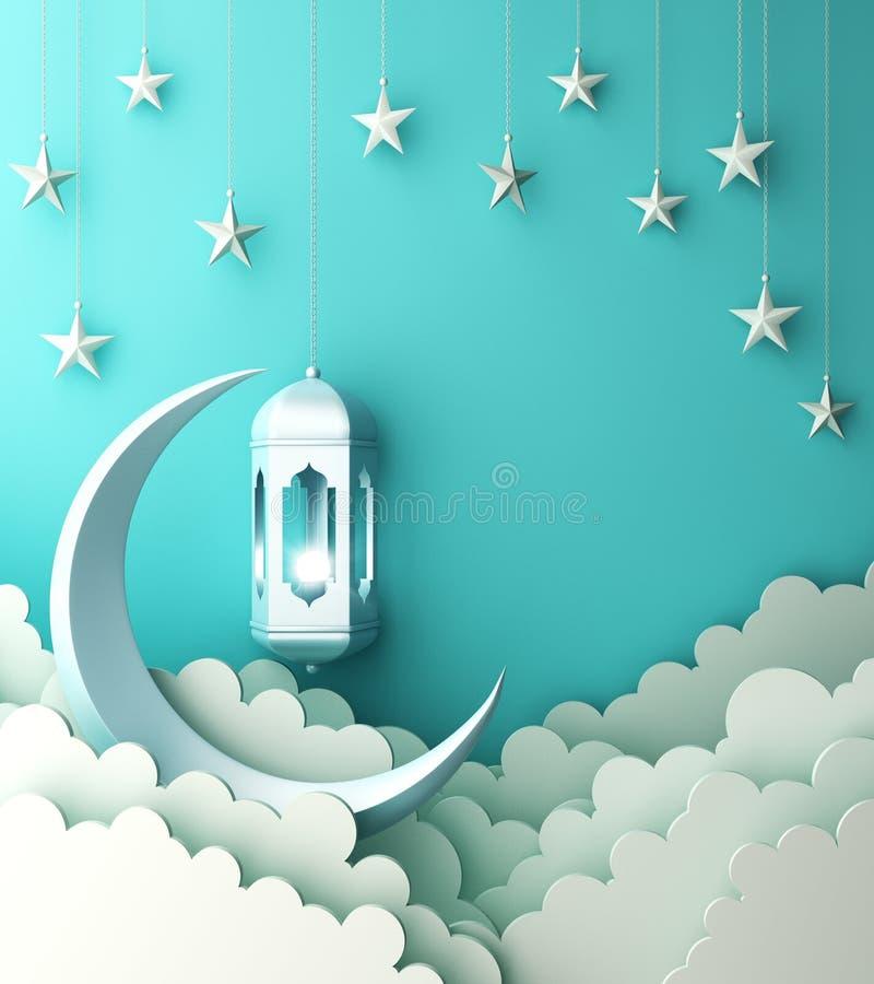 Arabski lampion, chmura, p??ksi??yc, gwiazda na b??kitnym pastelowym t?o kopii przestrzeni tekscie ilustracja wektor