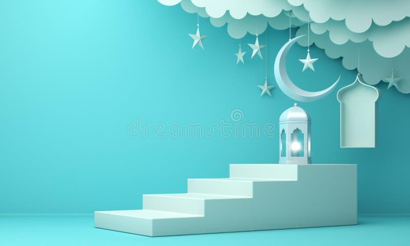 Arabski lampion, chmura, półksiężyc księżyc gwiazda, kroki i okno na błękitnym pastelowym tle, ilustracja wektor