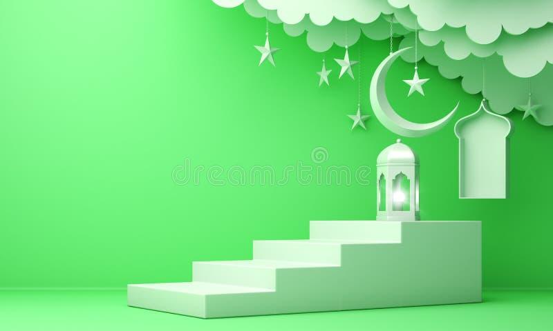 Arabski lampion, chmura, p??ksi??yc ksi??yc gwiazda, kroki i okno na zielonym pastelowym tle, royalty ilustracja