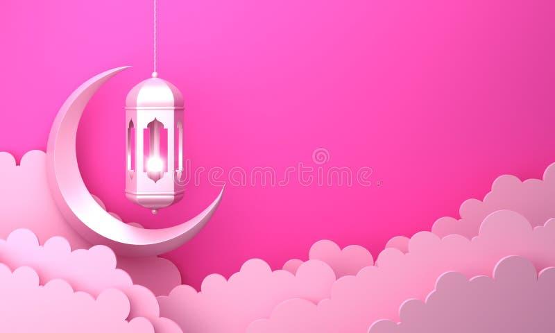 Arabski lampion, chmura, półksiężyc, na różowym pastelowym tło kopii przestrzeni tekscie ilustracji