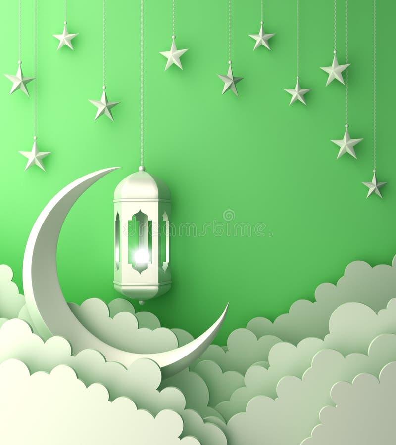 Arabski lampion, chmura, półksiężyc, na zielonym pastelowym tło kopii przestrzeni tekscie royalty ilustracja