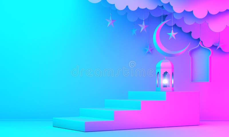 Arabski lampion, chmura, p??ksi??yc ksi??yc gwiazda, kroki i okno na zielonym pastelowym tle, ilustracji