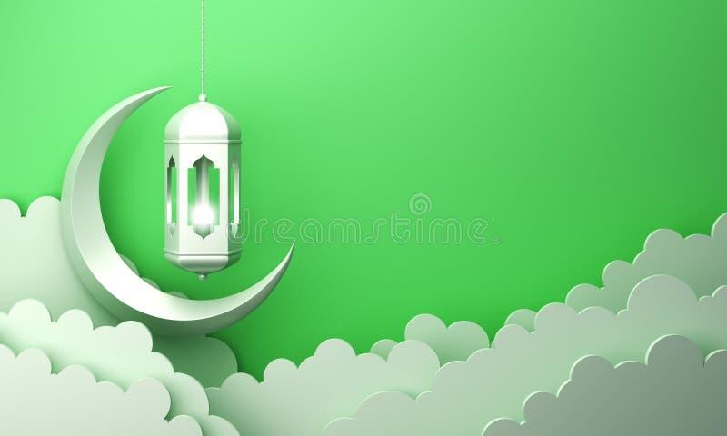 Arabski lampion, chmura, p??ksi??yc, na zielonym pastelowym t?o kopii przestrzeni tekscie ilustracja wektor