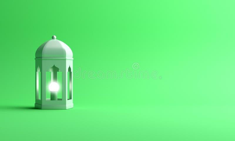 Arabski lampion na zielonym pastelowym pracownianym oświetleniowym tle ilustracji