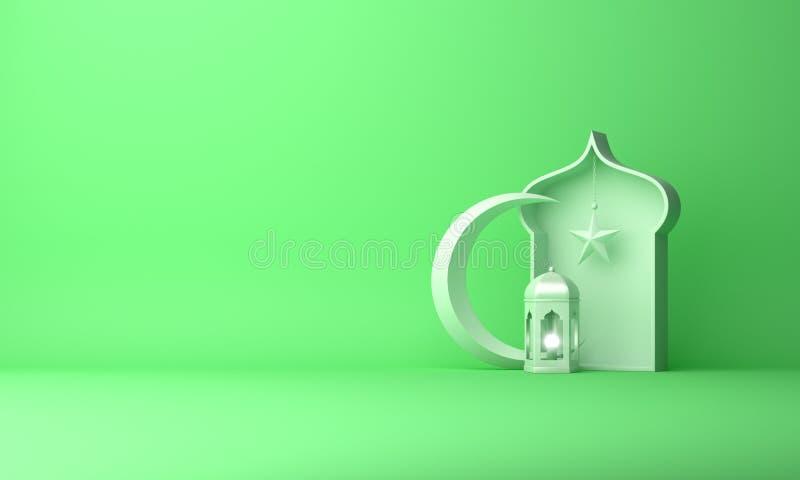 Arabski lampion, p??ksi??yc gwiazda, okno na zielonym pastelowym t?o kopii przestrzeni tekscie ilustracja wektor