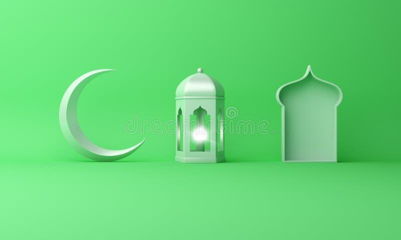 Arabski lampion, p??ksi??yc ksi??yc, okno na zielonym pastelowym t?o kopii przestrzeni tekscie ilustracja wektor