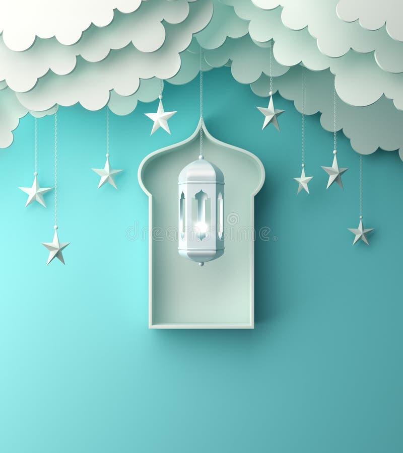 Arabski lampion, wiesza chmur?, gwiazda, okno na b??kitnym pastelowym t?o kopii przestrzeni tekscie ilustracji