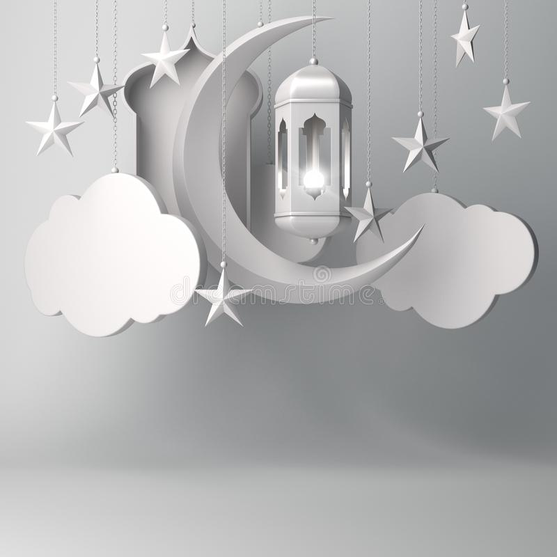 Arabski lampion, wiesza chmur?, p??ksi??yc gwiazda, okno na bia?ym t?o kopii przestrzeni tekscie ilustracji