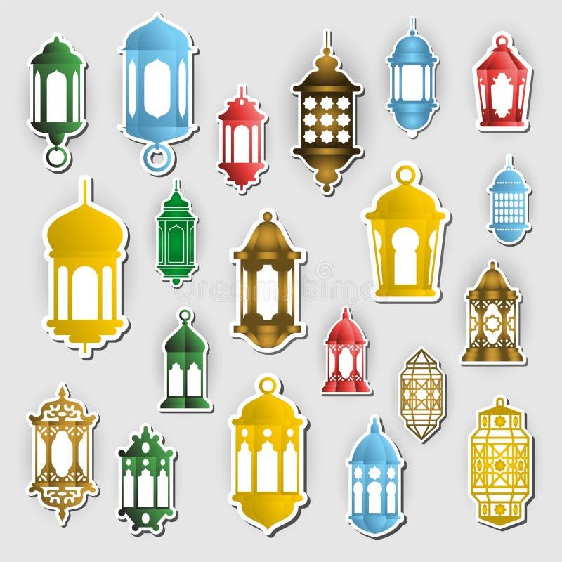 Arabski latarniowy wektorowy majcheru pojęcie Ramadan Kareem symbol royalty ilustracja