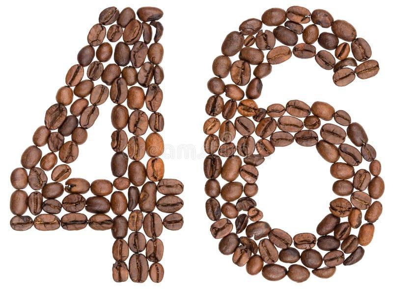 Arabski liczebnik 46, czterdzieści sześć, od kawowych fasoli, odizolowywać na whi fotografia royalty free