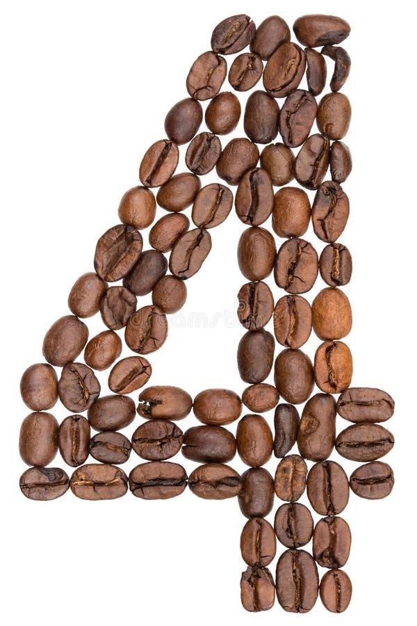Arabski liczebnik 4, cztery, od kawowych fasoli, odizolowywać na białym bac zdjęcia royalty free