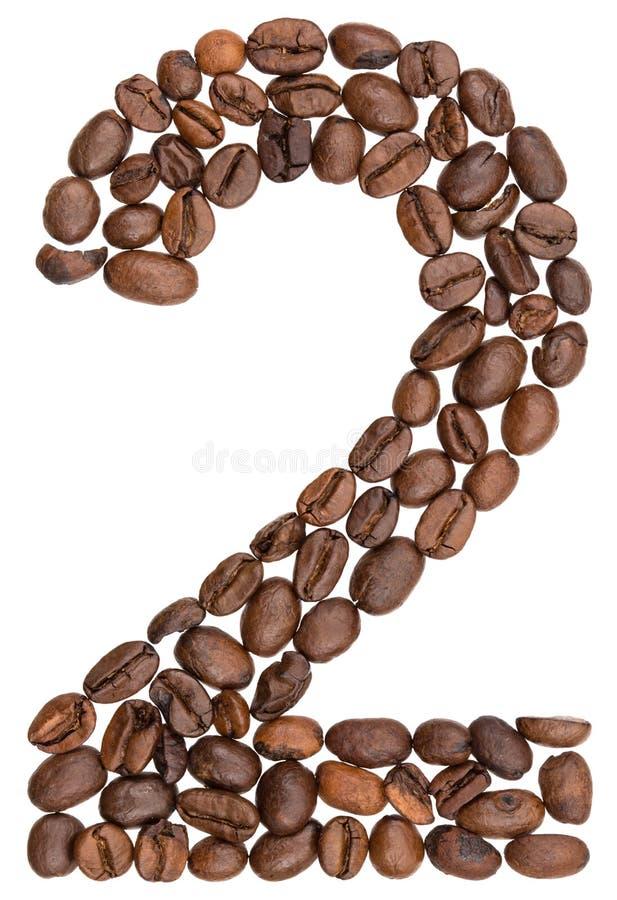 Arabski liczebnik 2, dwa, od kawowych fasoli, odizolowywać na bielu plecy fotografia stock