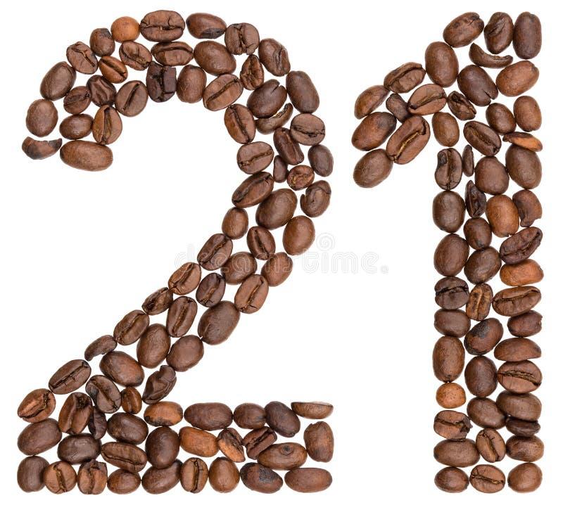 Arabski liczebnik 21, dwadzieścia jeden, od kawowych fasoli, odizolowywać na wh obrazy stock
