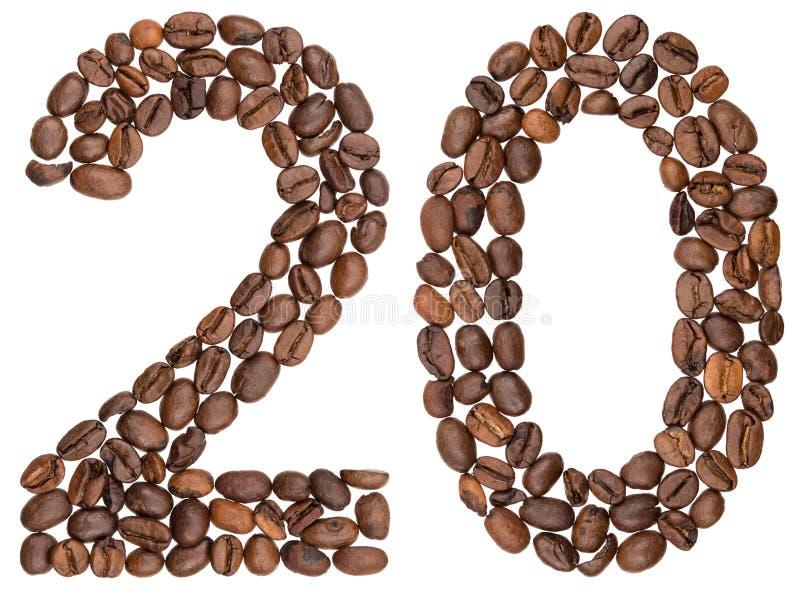 Arabski liczebnik 20, dwadzieścia, od kawowych fasoli, odizolowywać na bielu fotografia royalty free