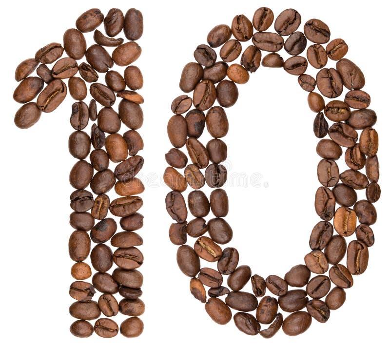 Arabski liczebnik 10, dziesięć, od kawowych fasoli, odizolowywać na białym bac obrazy royalty free