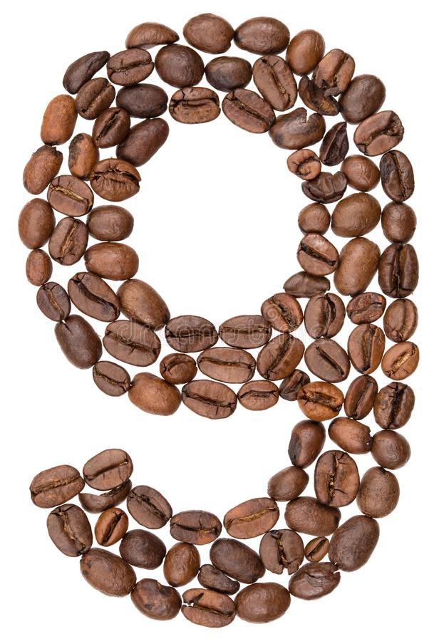 Arabski liczebnik 9, dziewięć, od kawowych fasoli, odizolowywać na białym bac zdjęcie royalty free
