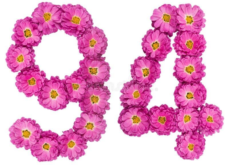 Arabski liczebnik 94, dziewięćdziesiąt cztery, od kwiatów chryzantema, i obraz stock