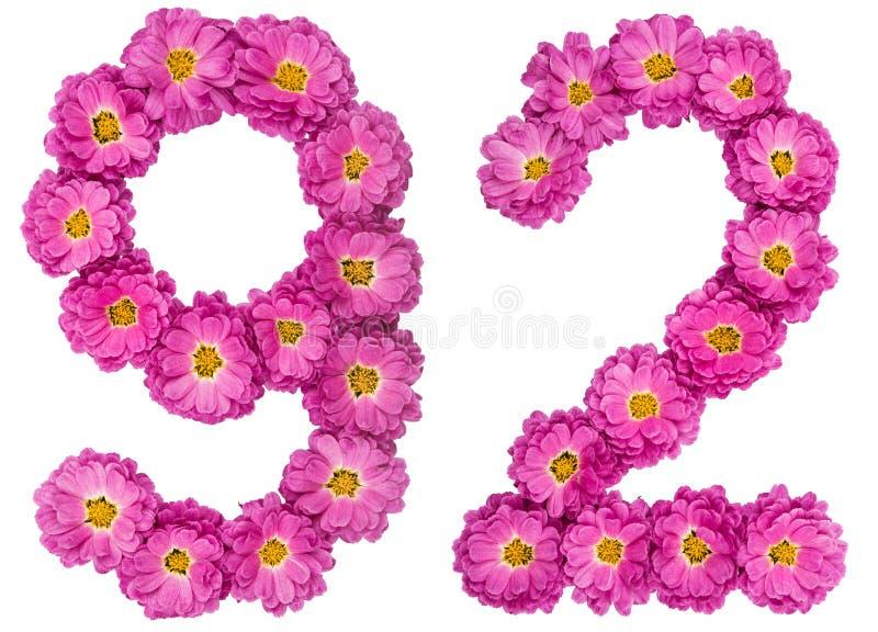 Arabski liczebnik 92, dziewięćdziesiąt dwa, od kwiatów chryzantema, jest obraz royalty free