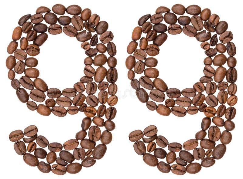 Arabski liczebnik 99, dziewięćdziesiąt dziewięć, od kawowych fasoli, odizolowywać na w zdjęcia stock
