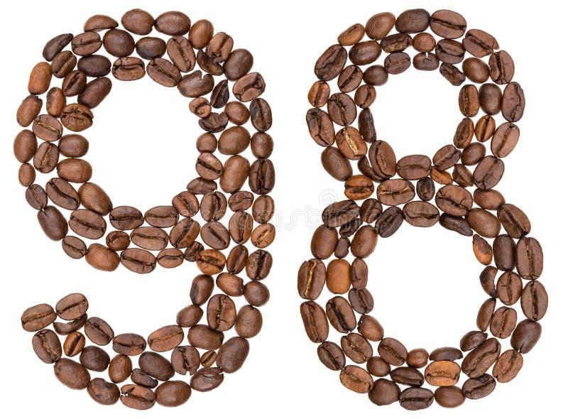 Arabski liczebnik 98, dziewięćdziesiąt osiem, od kawowych fasoli, odizolowywać dalej obraz stock