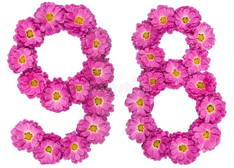 Arabski liczebnik 98, dziewięćdziesiąt osiem, od kwiatów chryzantema, fotografia stock