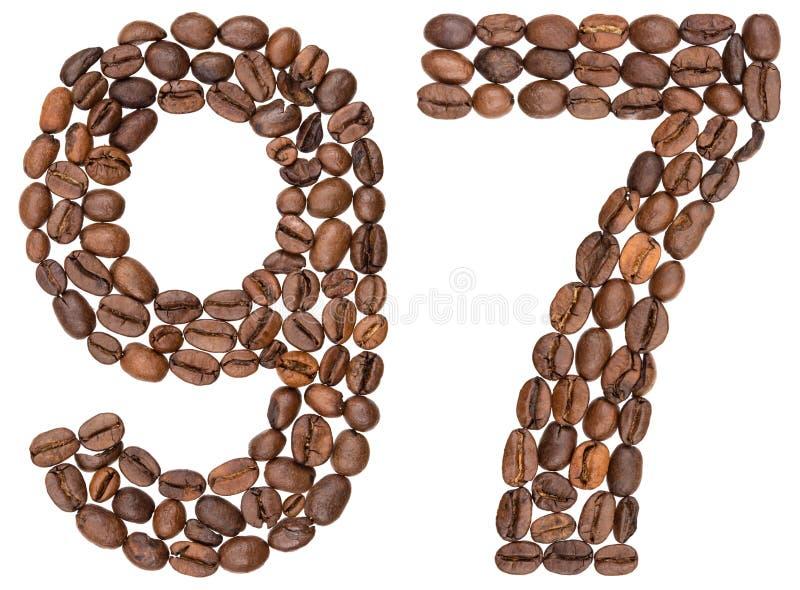 Arabski liczebnik 97, dziewięćdziesiąt siedem, od kawowych fasoli, odizolowywać dalej obraz royalty free