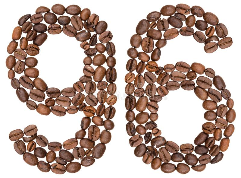 Arabski liczebnik 96, dziewięćdziesiąt sześć, od kawowych fasoli, odizolowywać na wh fotografia royalty free