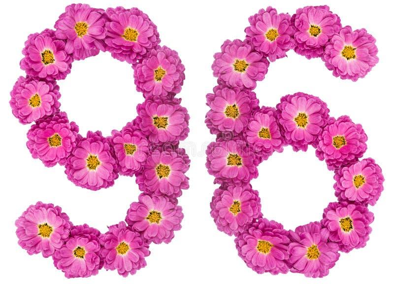 Arabski liczebnik 96, dziewięćdziesiąt sześć, od kwiatów chryzantema, jest zdjęcie royalty free